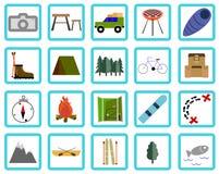 Vakantie, Recreatie & Reis, geplaatste pictogrammen Stock Foto's