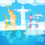 Vakantie reizende samenstelling met wereldgezichten Stock Afbeeldingen