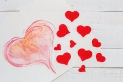 Vakantie, rood, wit, hart, achtergrond, liefde, met de hand gemaakt symbool, roze, decoratie Stock Foto's