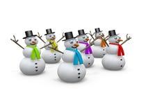 Vakantie - Sneeuwmannen Stock Afbeeldingen