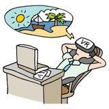Vakantie van de zakenman de virtuele werkelijkheid Royalty-vrije Stock Fotografie