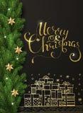 Vakantie Vector Van letters voorziende achtergrond Het vrolijke concept van Kerstmis vector illustratie