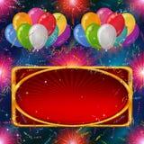 Vakantieachtergrond, ballons met banner Stock Foto's