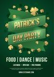 Vakantieaffiche om St Patrick ` s Dag te vieren Groene band met inschrijving: De Dagpartij van Patrick ` s en gouden klaverblader vector illustratie
