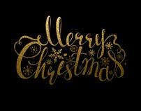 Vakantiebanner met decoratie Feestelijke de inschrijvings Vrolijke Kerstmis en sneeuwvlokken van de Kalligrafie gouden textuur Stock Foto's
