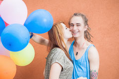Vakantieconcept de Dag van Valentine, viering met ballons Stock Fotografie