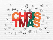 Vakantieconcept: Kerstmis op muurachtergrond Royalty-vrije Stock Afbeelding