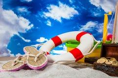 Vakantieconcept met zand Royalty-vrije Stock Afbeeldingen