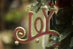 Vakantiedecoratie het ornament van de woordvreugde Stock Foto