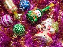 Vakantiedecoratie met bont-boom en speelgoed Stock Foto's