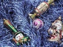 Vakantiedecoratie met bont-boom en speelgoed Royalty-vrije Stock Afbeelding