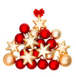 Vakantiedecoratie met rode en gouden ballen Royalty-vrije Stock Afbeeldingen