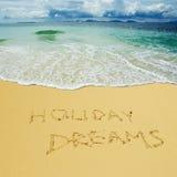 Vakantiedromen in een zandig strand worden geschreven dat stock fotografie