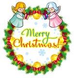 Vakantieetiket met engelen en geschreven tekst` Vrolijke Kerstmis! ` stock illustratie