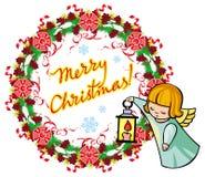Vakantieetiket met engelen en geschreven tekst` Vrolijke Kerstmis! ` vector illustratie