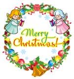 Vakantieetiket met engelen en geschreven tekst` Vrolijke Kerstmis! ` royalty-vrije illustratie
