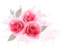 Vakantiegift cardl met drie roze rozen Stock Afbeeldingen