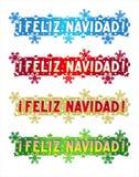 Vakantiegroet - Vrolijke Kerstmis! - in het Spaans Stock Afbeeldingen