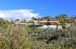 Vakantiehuizen op heuvel in struik het plaatsen Royalty-vrije Stock Fotografie