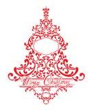 Vakantiekaart met abstracte Kerstmisspar - rood bloemenkant Royalty-vrije Stock Fotografie