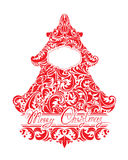 Vakantiekaart met abstracte Kerstmisspar - rood bloemenkant Royalty-vrije Stock Foto's