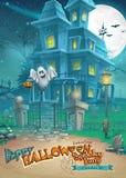 Vakantiekaart met een geheimzinnig het spookhuis en de pretspook van Halloween vector illustratie