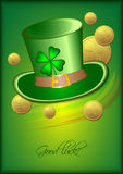 Vakantiekaart met groene hoed en klaver op groene achtergrond voor St Patrick Dag 17 maart Royalty-vrije Stock Foto's