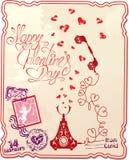 Vakantiekaart met hand geschreven teksten Gelukkige Valentin stock illustratie