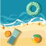 Vakantiekaart met strand en deckchair royalty-vrije illustratie