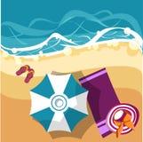 Vakantiekaart met strandparaplu royalty-vrije illustratie
