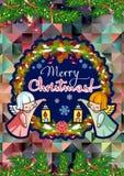 Vakantiekaart met zoete kleine engelen en artistieke geschreven teksten ` Vrolijke Kerstmis! ` stock illustratie