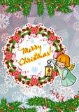Vakantiekaart met zoete kleine engelen en artistieke geschreven teksten ` Vrolijke Kerstmis! ` royalty-vrije illustratie