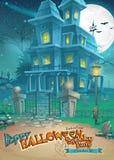 Vakantiekaart voor Halloween met een vreemd en geheimzinnig huis met spoken royalty-vrije illustratie