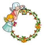 Vakantiekader met engelen en geschreven tekst` Vrolijke Kerstmis! ` stock illustratie