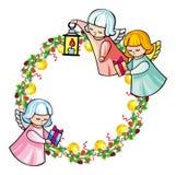 Vakantiekader met engelen en geschreven tekst` Vrolijke Kerstmis! ` vector illustratie