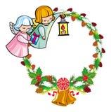 Vakantiekader met engelen en geschreven tekst` Vrolijke Kerstmis! ` royalty-vrije illustratie