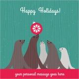Vakantiekerstkaart met leuke zeeleeuwfamilie Royalty-vrije Stock Afbeeldingen