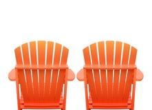 Vakantieligstoelen op Wit Stock Fotografie