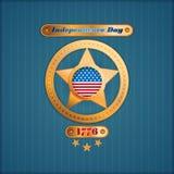 Vakantiemalplaatje met gouden ster en nationale vlagkleuren voor four Juli, Amerikaanse Onafhankelijkheidsdag Stock Fotografie