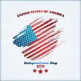 Vakantiemalplaatje met grungetextuur op nationale vlagkleuren voor four Juli, Amerikaanse Onafhankelijkheidsdag Stock Fotografie