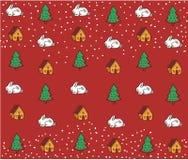 Vakantiepatroon De winterachtergrond met konijntjes, bomen, huizen Royalty-vrije Stock Afbeelding