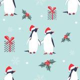 Vakantiepatroon met mooie pinguïnen Royalty-vrije Stock Afbeelding