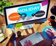 Vakantieplaats het Boeken de Vieringsconcept van het vrije tijdsgeluk Stock Foto's