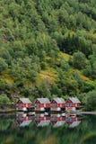 Vakantieplattelandshuisjes Flaam Noorwegen stock afbeeldingen