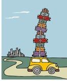 Vakanties: een auto die met heel wat bagage wordt belast. royalty-vrije illustratie