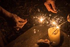 Vakantieviering in Guatemala met Vuurwerk Royalty-vrije Stock Foto