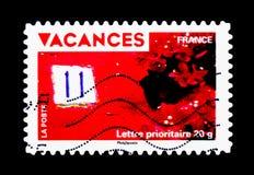 Vakantiezegels - Bloemen en huisnummer, Vakantie serie, circa Royalty-vrije Stock Afbeeldingen
