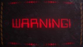 Vaken signalerande för varning på en gammal bildskärm lager videofilmer