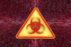 Vaket tecken för virus för illustrationbildskärm för dator 3d säkerhet Royaltyfri Fotografi
