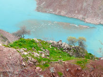 The Vakhsh river from height of bird's flight. The Vakhsh river near the town of Nurek in Tajikistan Stock Photography